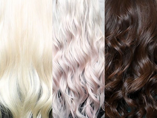Blonde, pink, and brown, hair collage showing different uses of Laced Hair Extensions.
